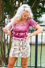Pink Velvet Ruffle Smocked Top - Shop Kendry Collection Online Boutique