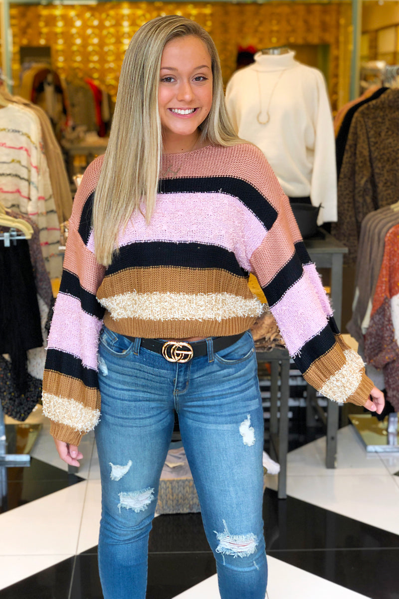 Pink Color Block Textured Cropped Sweater