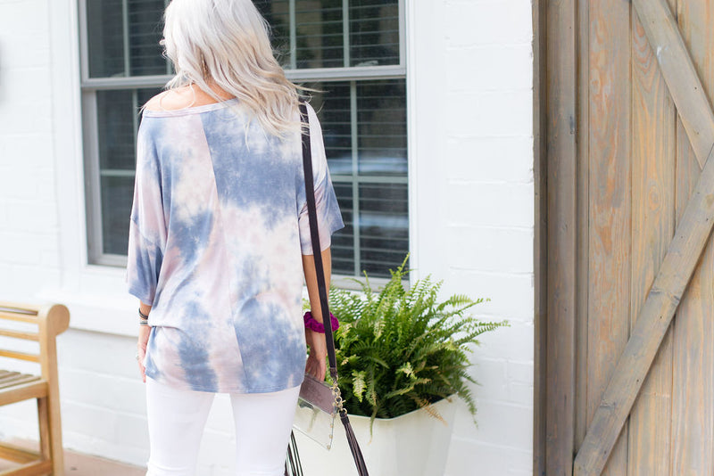 Pink and Blue Tie Dye Oversize Tee - Kendry Collection Boutique