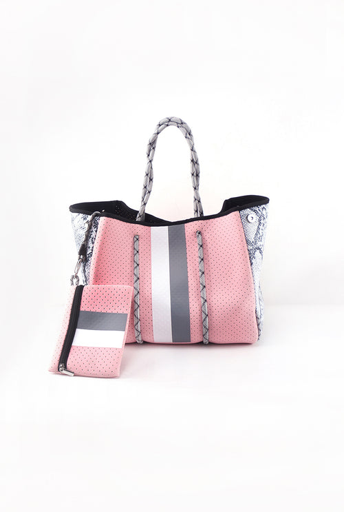 Pink And Grey Python Neoprene Tote Bag - Shop Kendry Collection Boutique