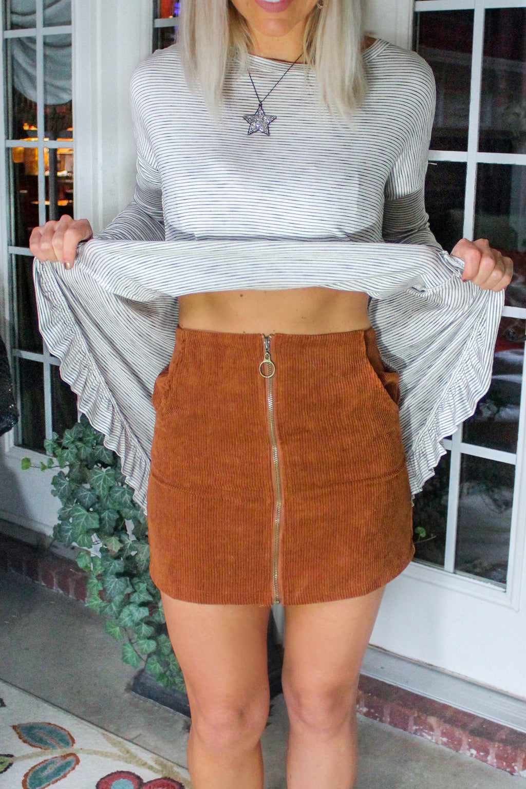 Tan O-Ring Front Zipper Mini Skirt, Corduroy Zip Mini Skirt - Tan - Buy Trendy Skirts Online At Kendry Collection Boutique