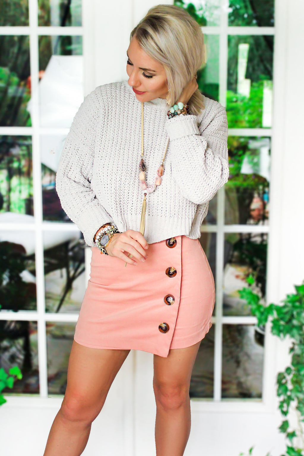 Pink Mini Skirt With Buttons - Kendry Collection Boutique - Buy Cute Skirts For Women Online Now