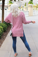 Pullover Popcorn Sweater - Pink Rose - Kendry Collection Boutique
