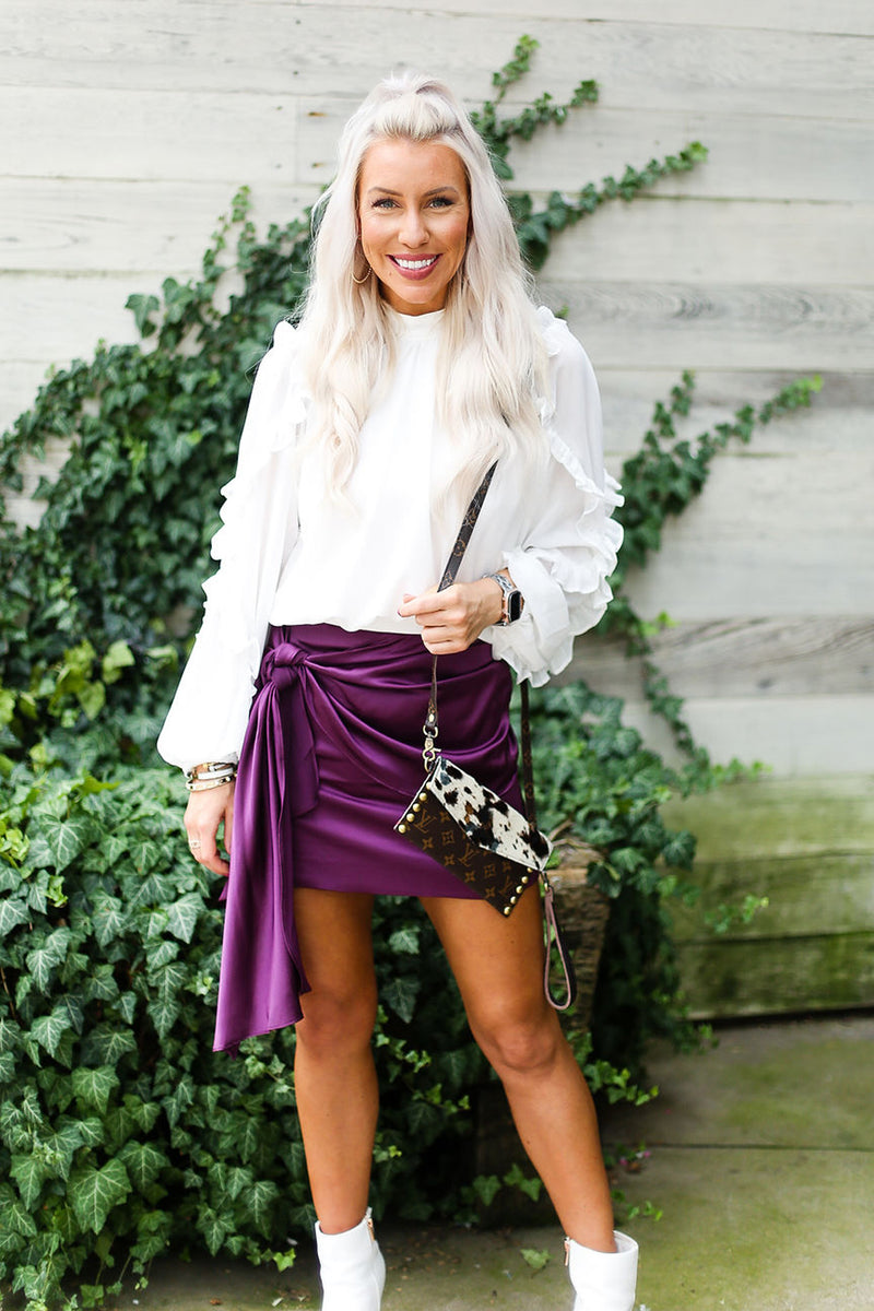 Purple Silky Front Tie Ruched Mini Skirt