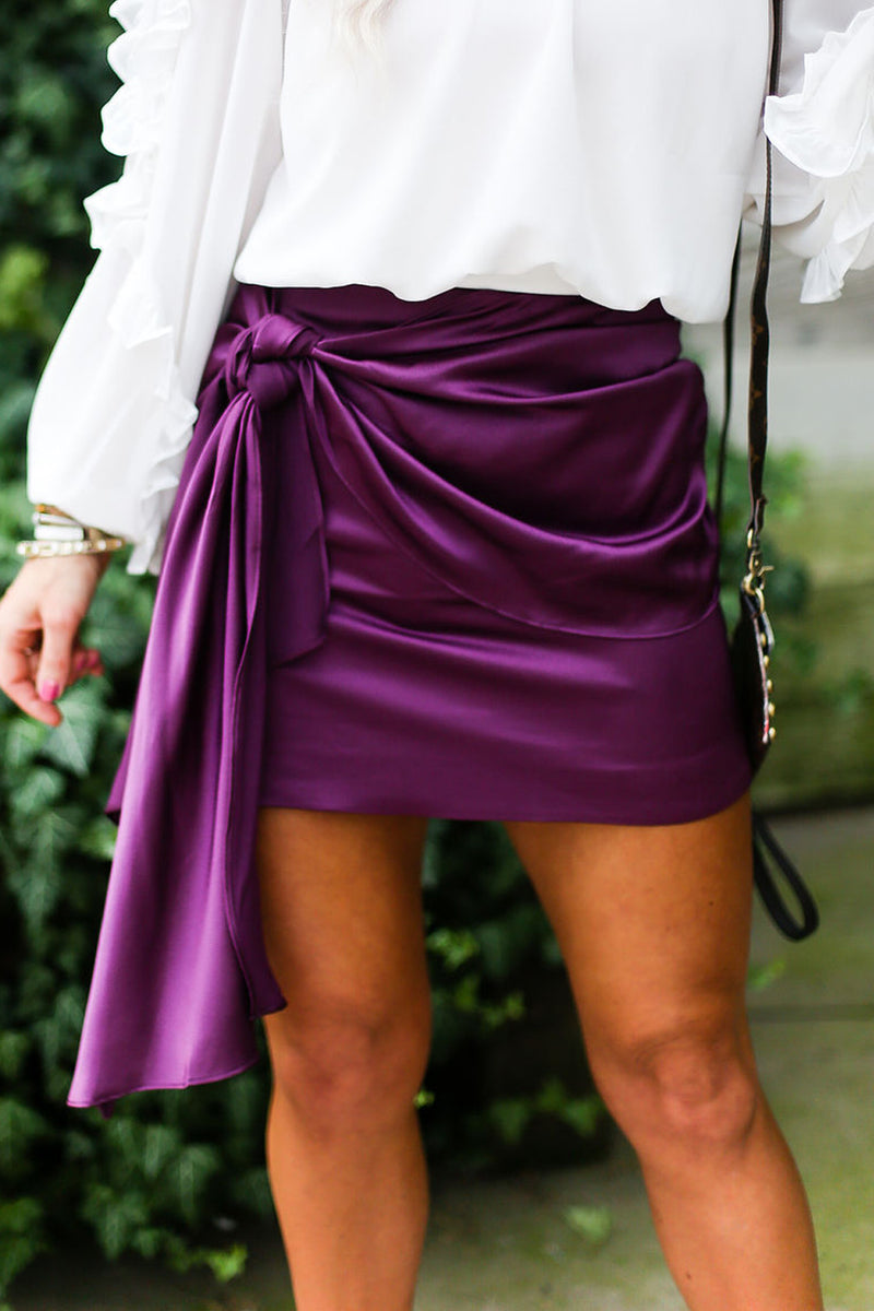 Purple Silky Front Tie Ruched Mini Skirt - Kendry Collection Boutique