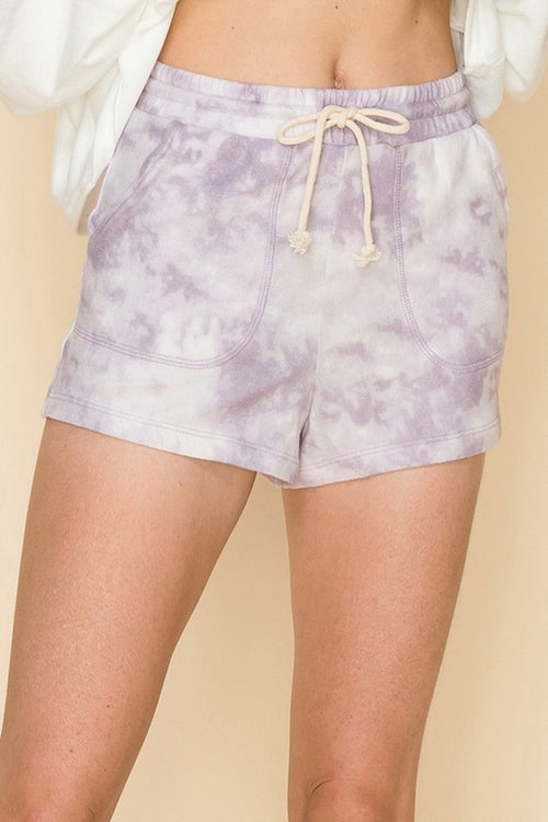 Purple Tie Dye Brushed Knit Lounge Shorts - Shop Kendry Collection Boutique