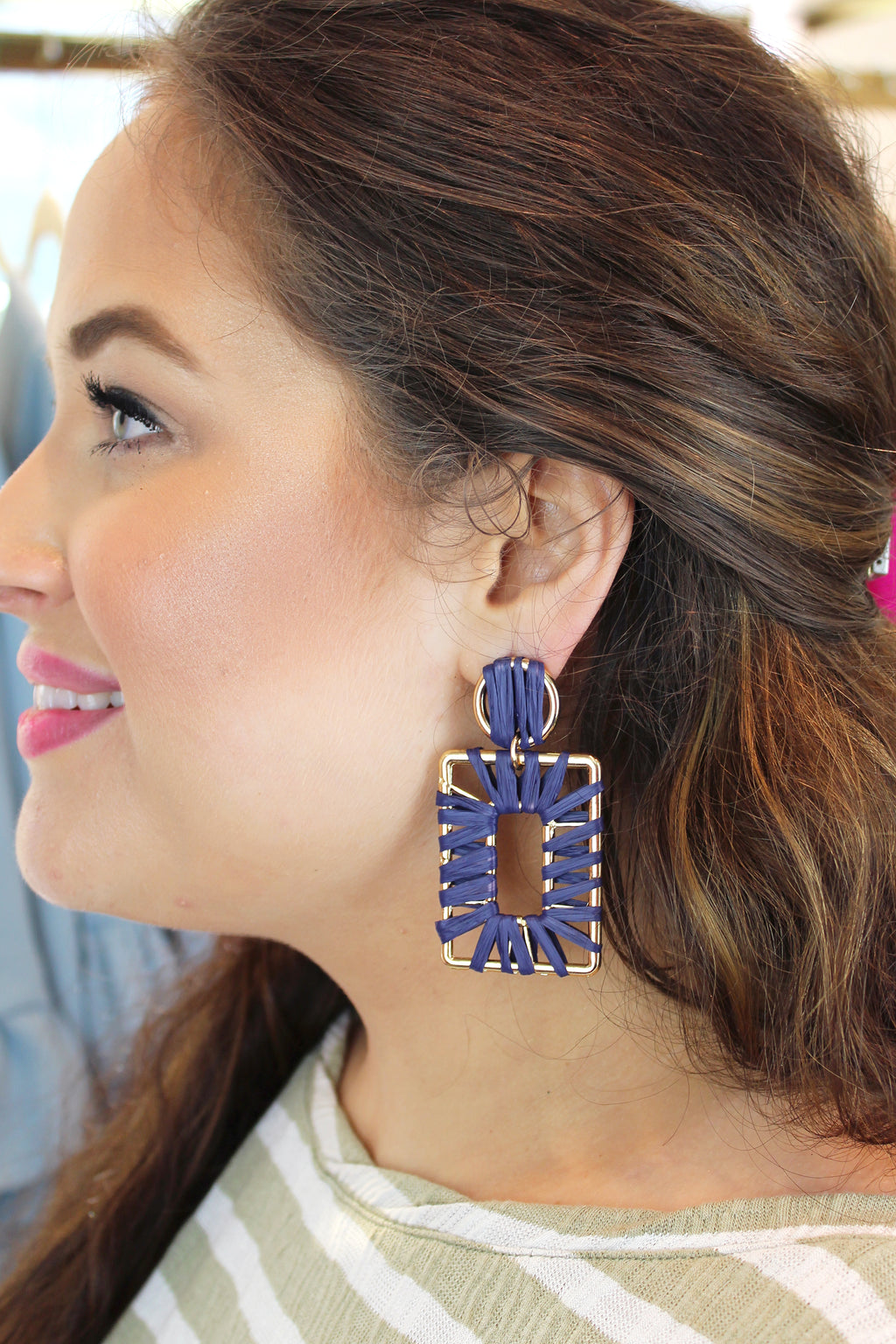 Raffia Wrapped Rectangle Earrings - Kendry Collection Boutique