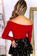 Red Long Sleeve Off The Shoulder Bodysuit - Kendry Collection Boutique