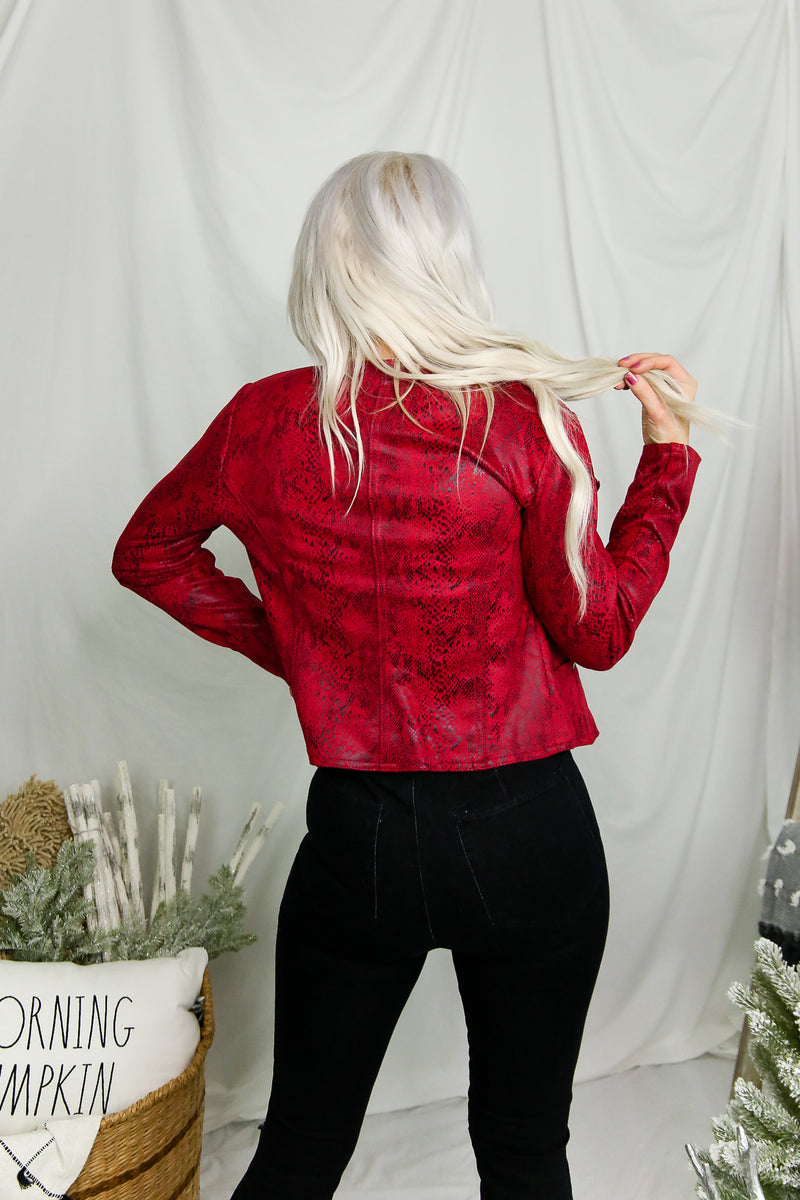 Red Snake Skin Faux Leather Moto Jacket- Shop Kendry Collection Boutique