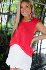 Red Textured Ruffle Sleeve Tank Top -  Shop Kendry Collection Boutique