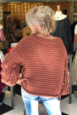 Textured Dot Sleeve V-neck Sweater - Red Bean - Kendry Collection Boutique