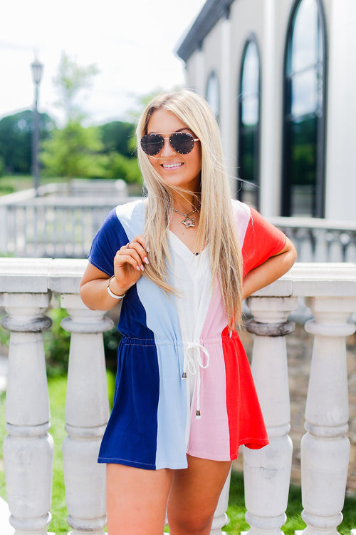 Red, White and Blue Striped Drawstring Romper - Shop Kendry Collection Boutique Online