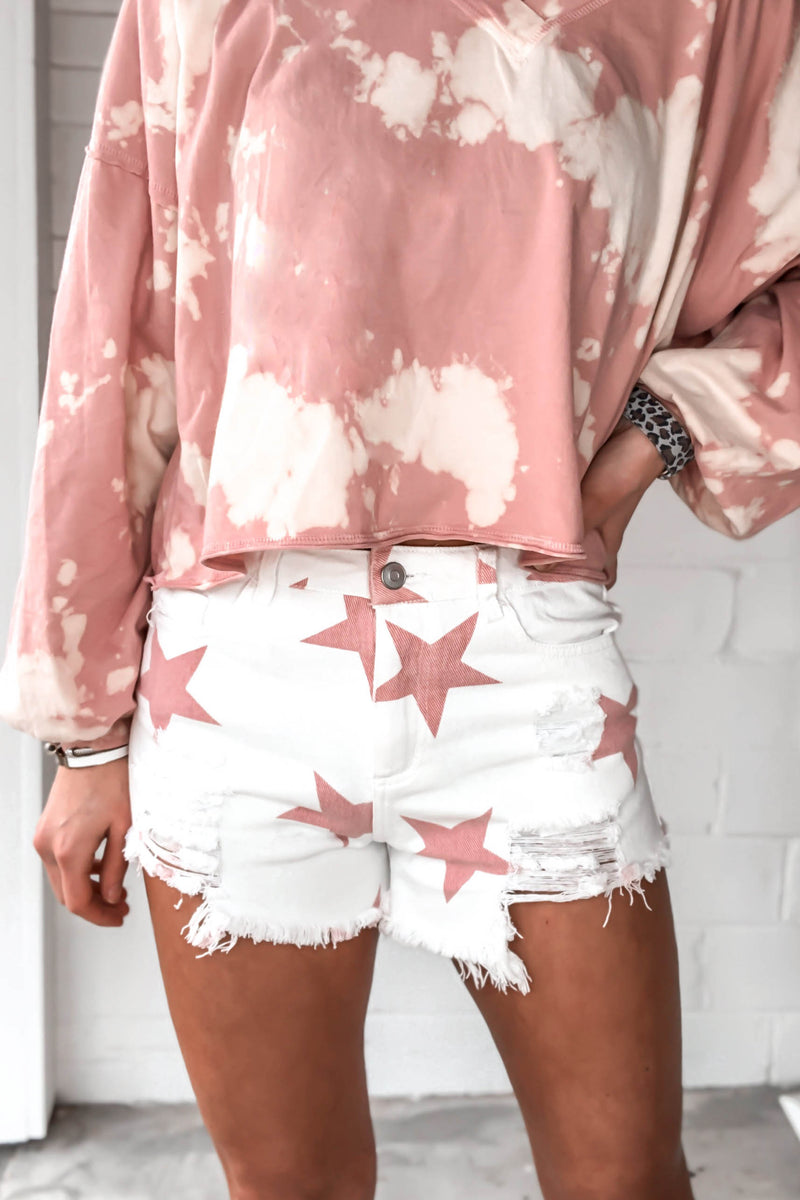 Red And White Star Patterned Distressed Denim Shorts - Kendry Collection Boutique