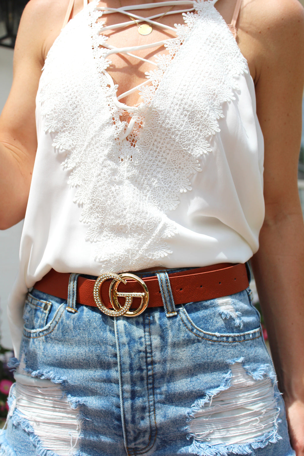 Dark Brown Rhinestone Studded Belt, Faux Leather Belt, Gold Buckle - Shop Cute Accessories Online Now at Kendry Collection Boutique