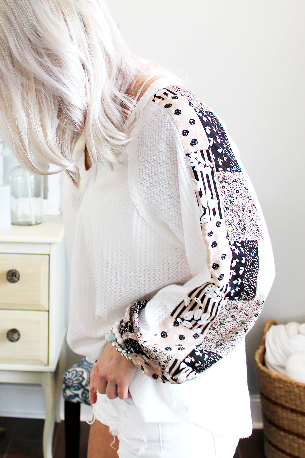 Right On Time White Waffle Knit Top