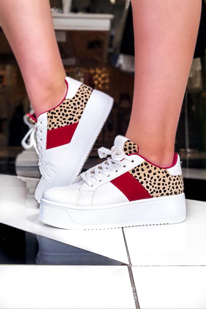 Riza Red and Leopard Stripe White Sneakers- Kendry Collection Boutique