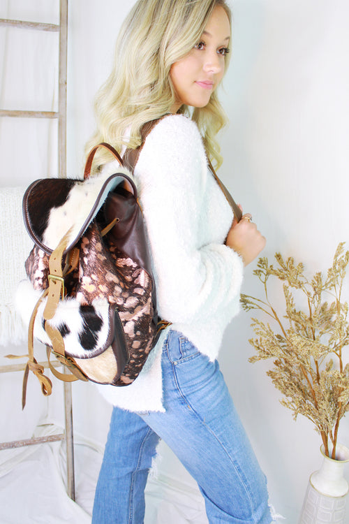 Rose Gold Metallic Cowhide Back Pack - Shop Kendry Collection Boutique