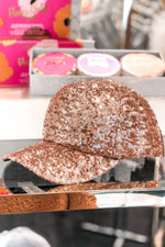 Rose Gold Sequin Baseball Hat - Kendry Collection Boutique