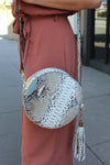 Round Snakeskin Crossbody Bag - Blue - Kendry collection Boutique