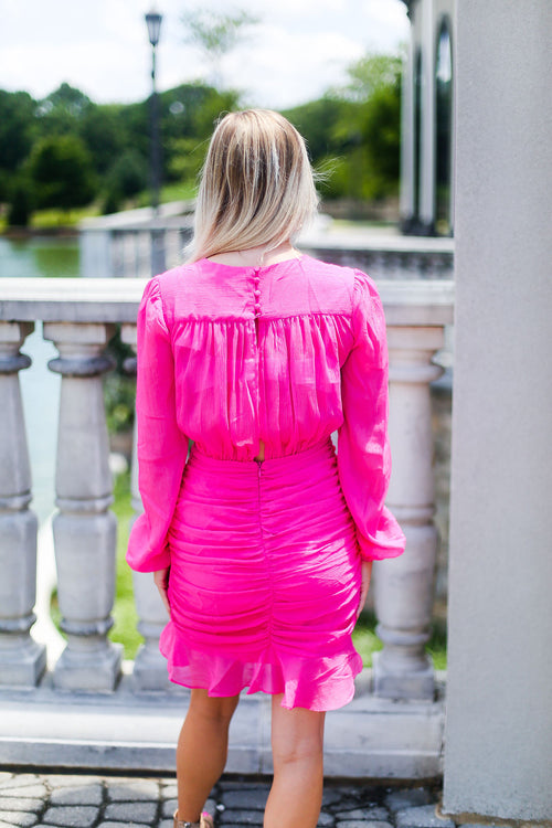 Ruched Long Sleeve Mini Dress - Hot Pink - Shop Cute Dresses Online At Kendry Collection Boutique