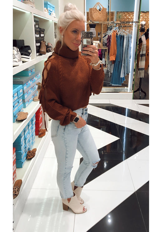 Rust Lace Up Cold Shoulder Cropped Turtleneck Sweater-shop kendry