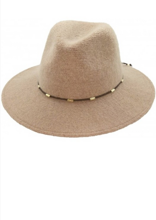 Wool Panama Hat With Beaded Strap