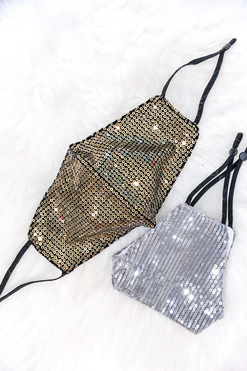 Gold Sequin Face Masks - Shop Cute Face Masks Online At Kendry Collection Boutique