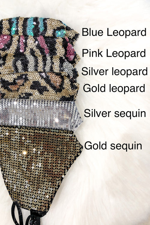 Rose Gold Sequin Leopard Face Masks - Shop Cute Face Masks Online At Kendry Collection Boutique