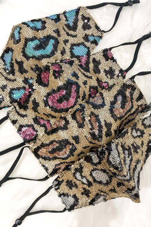 White And Gold Sequin Leopard Face Masks - Shop Cute Face Masks Online At Kendry Collection Boutique