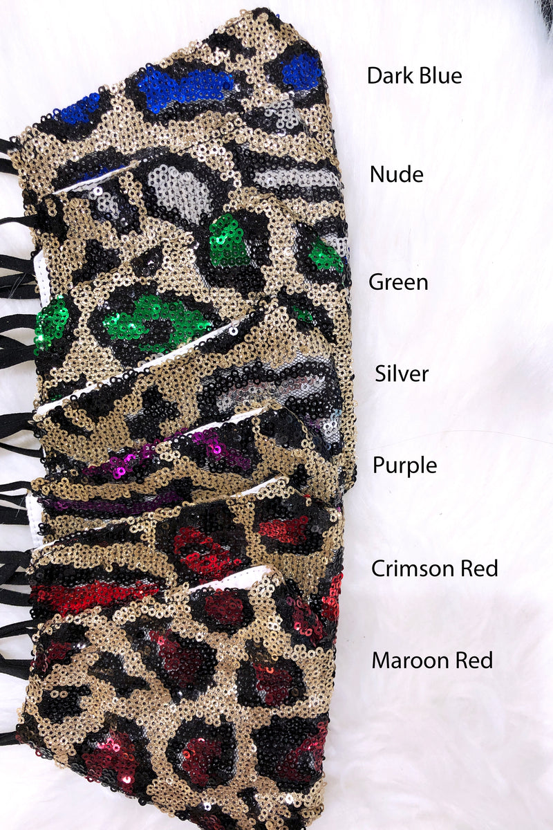 Purple And Gold Leopard Sequin Face Mask - Kendry Collection Boutique