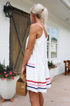 Setting Sail White V-Neck Shift Dress Multi Colored Stripes - Flowy White Mini Dress - White V-Neck Dress - Kendry Collection Boutique