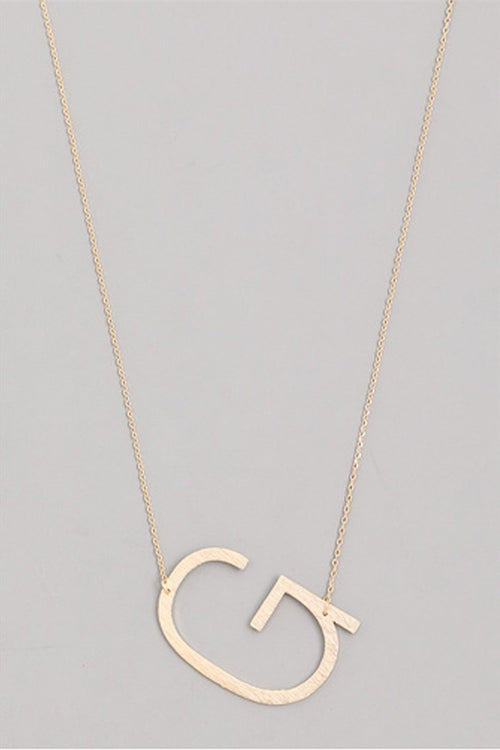 Sideways Initial Necklace Gold - Kendry Collection Boutique