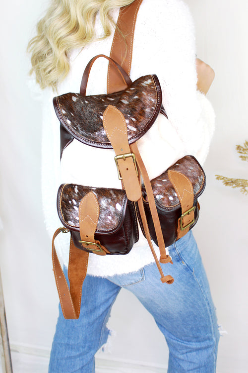 Silver Metallic Cowhide Back Pack - Shop Kendry Collection Boutique