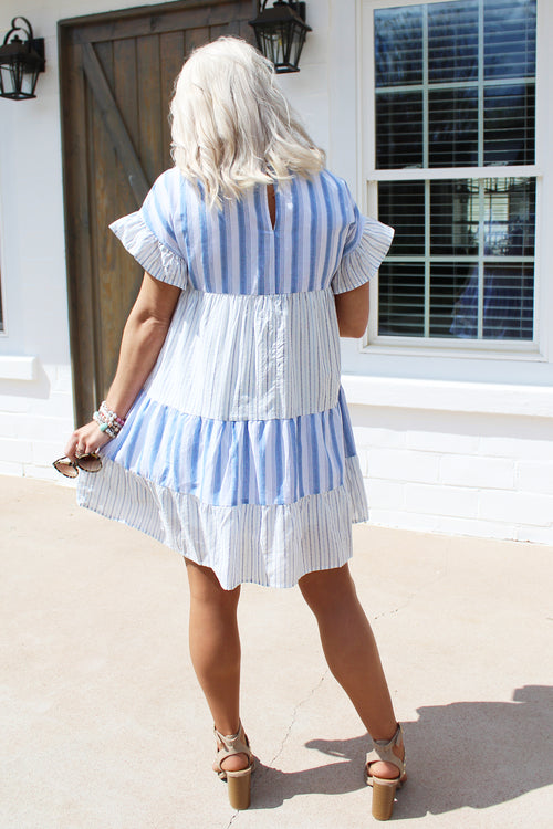 Simple Sailing Blue And White Striped Babydoll Dress