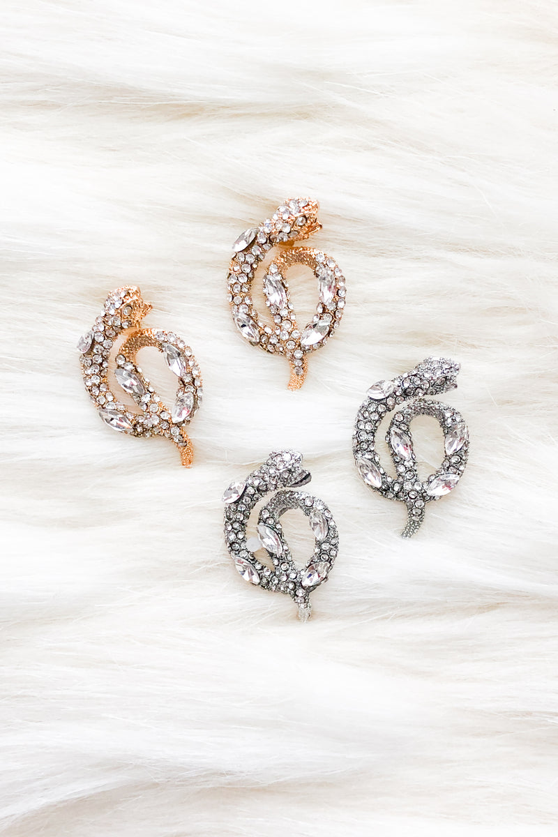 Crystal Snake Stud Earrings - Kendry Collection Boutique