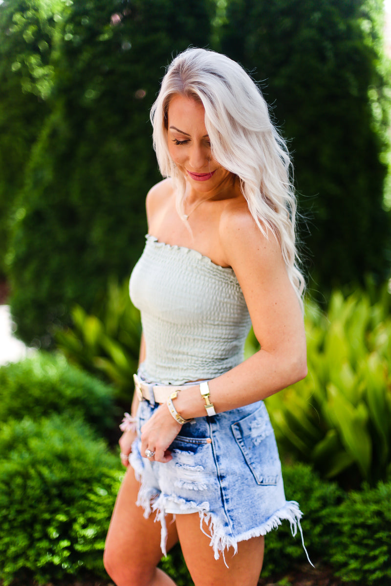 Smocked Tube Top - Sage Green - Shop Kendry Collection Boutique