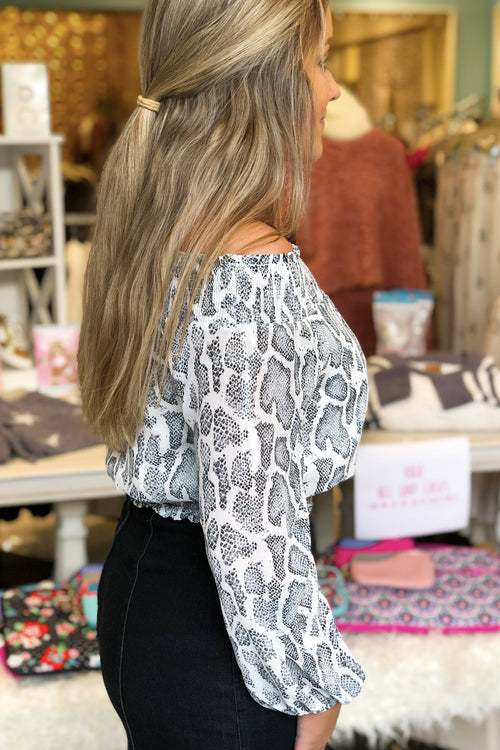 Grey Snakeskin Smocked Off The Shoulder Top - Kendry Collection Boutique