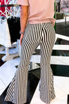 Black and White Striped Super Flare Pants - Kendry Collection Boutique