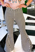 So Fab Black and White Striped Super Flare Pants