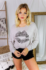 Soft Grey Lips Graphic Long Sleeve Top