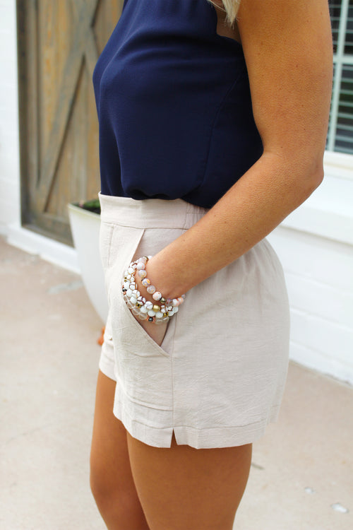 Southern Magnolia Khaki High Waisted Shorts With Pockets - Kendry Collection Boutique