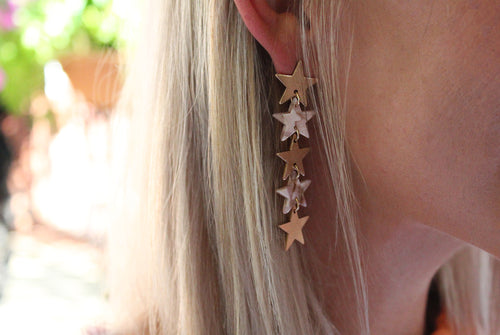 Tortoise Dangle Earrings, Beige Tortoise Earrings, Gold Star Earrings, Dandle Star Earrings - Shop Trendy Tortoise Earrings Now At KendryCollection.com