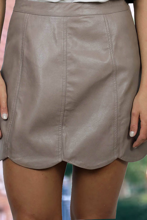 Scalloped Mocha Mini Skirt, Tan Pleather Skirt, Scallop Trimmed Faux Leather Mini Skirt - Shop Women's Skirts Online At Kendry Collection Boutique