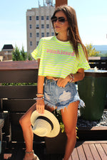 Striped Sunkissed Cropped Tee, Neon Yellow and White Striped T-shirt, Cute Summer Crop Top - Kendry Collection Boutique