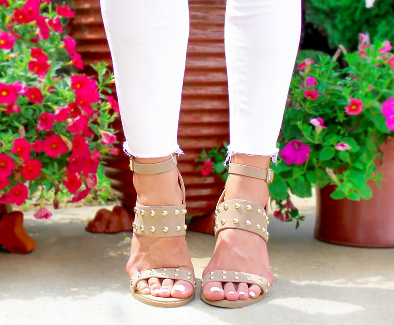 Talk Of The Town Gold Studded Block Heeled Sandals In Nude, Block Style Heels, Studded Sandals, Nude Block Heels, Gold Studded Sandals | Kendry Collection Boutique