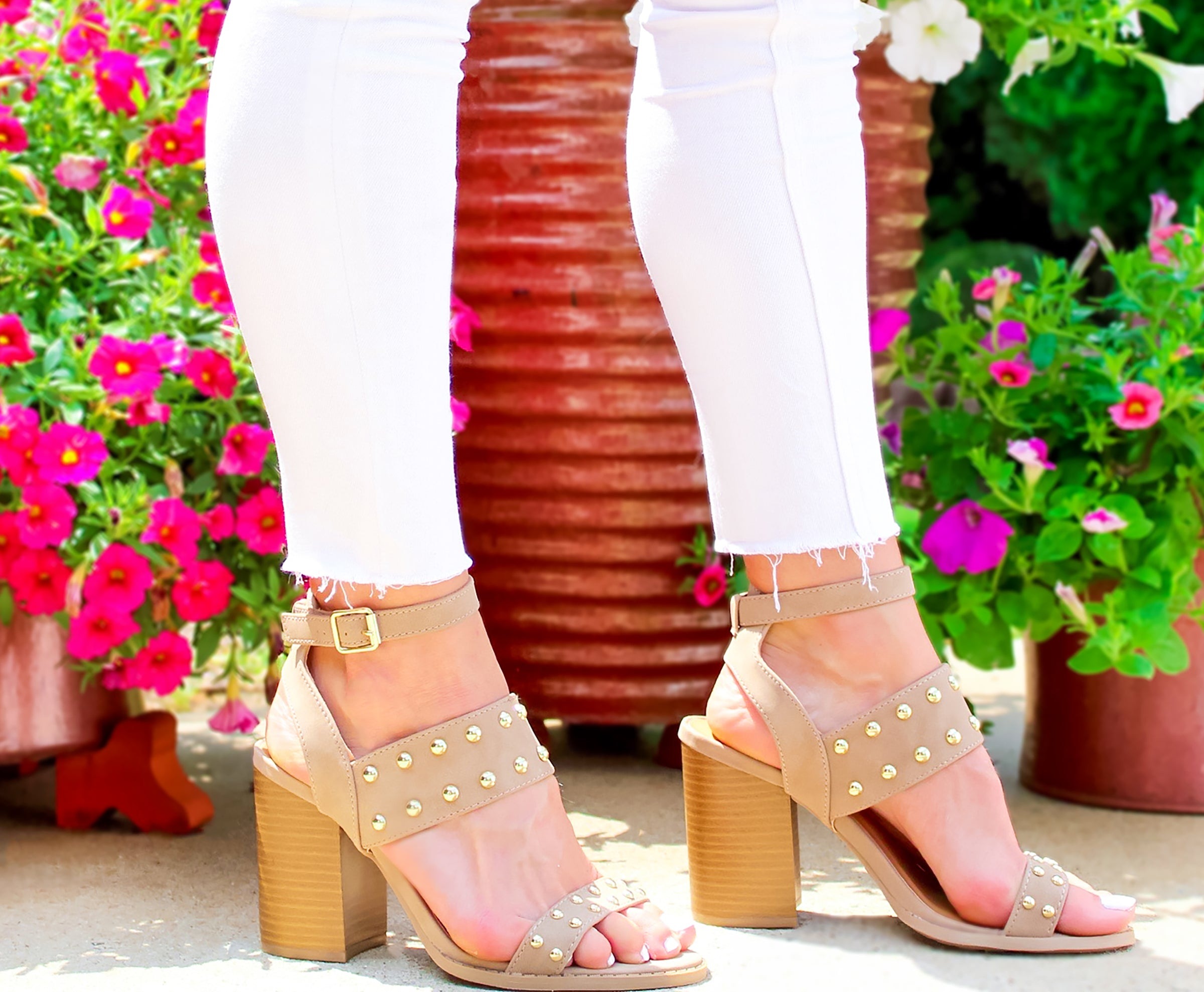 9f3f995c25 Talk Of The Town Gold Studded Block Heeled Sandals In Nude, Block Style  Heels,