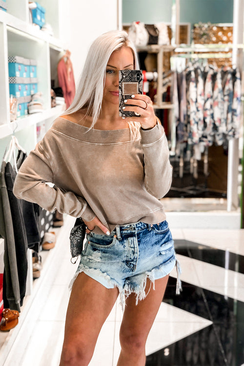 Tan Off The Shoulder Mineral Wash Pullover - Shop Cute Loungewear Online At Kendry Collection Boutique