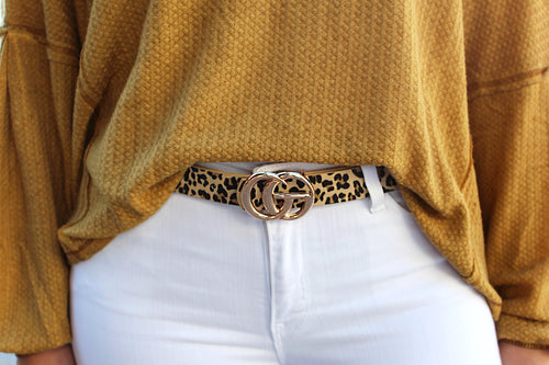 Taupe Leopard Print GG Belt - Kendry Collection Boutique