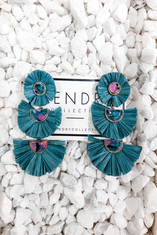 Teal Raffia Fan Three Tiered Earrings - Kendry Collection Boutique