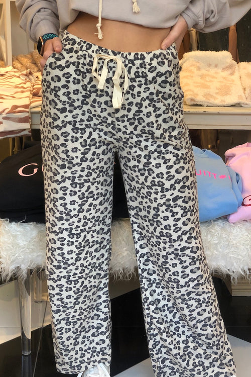 Terry Leopard Print Pajama Pants - Shop Kendry Collection Boutique
